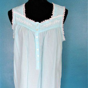 Jasmine Rose Green Sleeveless Nightgown.